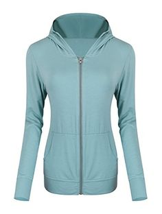 Urban CoCo Womens Full Zip Hoodie Modal Cotton Jacket M cadetblue *** Want additional info? Click on the image.