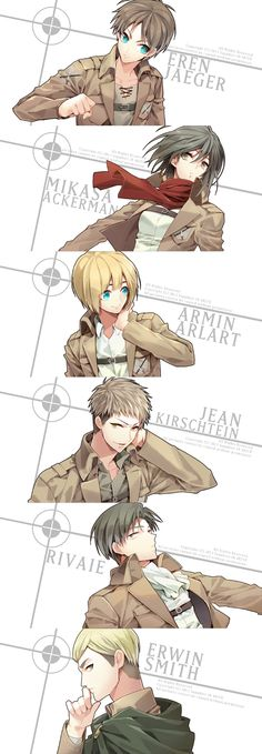 Shingeki no Kyojin/#1494853 - Zerochan - NINE (Sapphire), Shingeki no Kyojin, Jean Kirschstein, Eren Jaeger, Levi, Erwin Smith