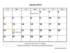 Printable Calendar 2014 January Templates