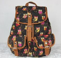 7e6612c08f00 2015 Women European Style Printing Backpack Canvas Owl Animal Student  School Bags For Teenagers Girls Ladies Drawstring Bag