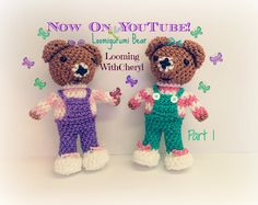 Rainbow Loom Bear Part 1 of 2 - Loomigurumi amigurumi - Looming WithCheryl. In this Video I will be showing you how to crochet, and create this Loomigurumi Amigurumi Bear with . will be using Rainbow Loom Rubber bands, and Just my hook. Rainbow Loom Tutorials, Rainbow Loom Creations, Loom Crochet, Loom Knitting, Crochet Toys, Rubber Band Crafts, Rubber Bands, Wonder Loom, Crazy Loom