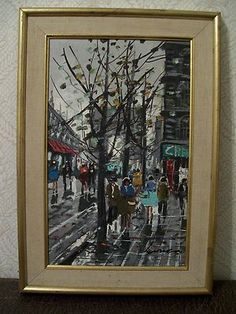 Vtg Mid Century Modern Paris City Original Oil Painting Abstract Gold Frame