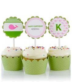 Pink Whale Birthday Party Cupcake Toppers by SimplyGenie.com