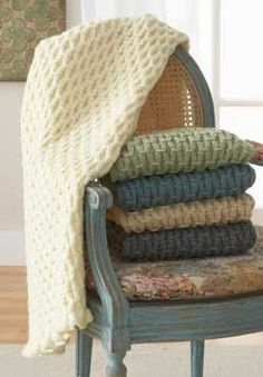 Free Knitting Pattern - Afghans & Blankets: Cushy Smocked Throw