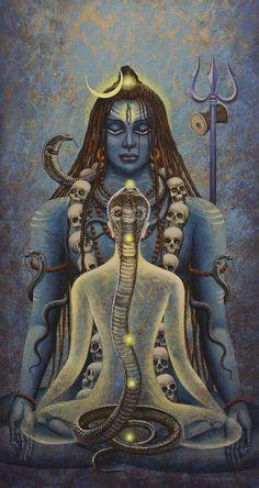 Lord Shiva and Kundalini Shiva Shakti, Shiva Art, Hindu Art, Yoga Mudra, Spiritual Tattoo, Magia Elemental, Lord Shiva Hd Wallpaper, Lord Shiva Painting, Hindu Deities