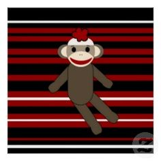 Red Black White Striped Sock Monkey Girl Sitting Poster | Unique Posters