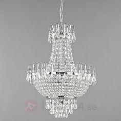 Kromglänsande kristalltaklampa Casparia beställ säkert & bekvämt på Lamp24.se.