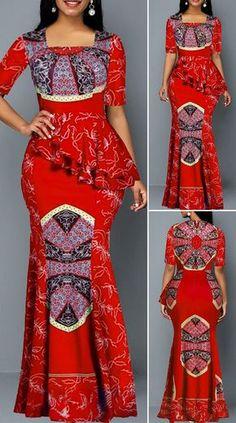 Tribal Print Half Sleeve Ruffle Trim Maxi Dress - - Tribal Print Half Sleeve R. Best African Dresses, African Fashion Skirts, African Print Dresses, African Print Fashion, African Attire, Ankara Dress Styles, Fashion Trends 2018, Outfits Dress, African Print Dress Designs