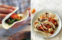 Awesome taco recipes...roasted asparagus; spicy avocado pork; sweet potato breakfast tacos; tacos de papa; black bean tacos...