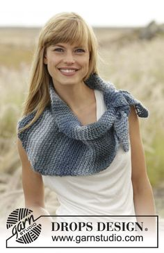 """Evening Falls - #shawl in garter st in """"Big Delight"""". - Free #knitting pattern by DROPS Design"""