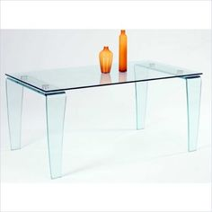 Chintaly Furniture Chintaly Vera All Glass Rectangular Dining Table in Clear
