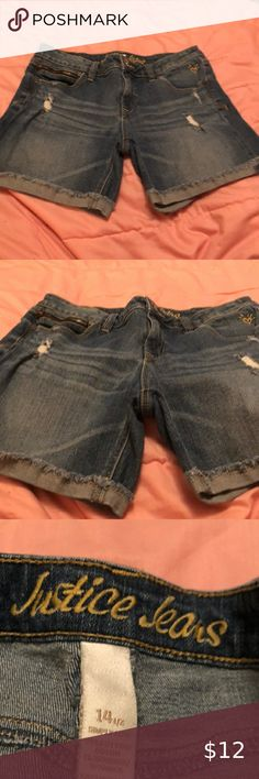 Shop Kids' Justice Blue size Shorts at a discounted price at Poshmark. Short Girls, Jean Shorts, Kids Shop, Best Deals, Pants, Closet, Things To Sell, Style, Fashion