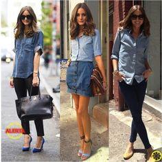 denim button down 3 ways, with black skinny pants ot denim skirt - Olivia  Palermo