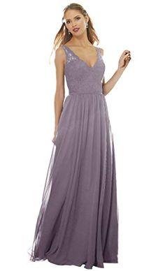 34e6a40c4c2 Zhongde Women s V-Neck A Line Chiffon Lace Bodice Long Bridesmaid Dress  Wedding Party Formal Gown Wisteria Size 6