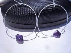 Hoop earrings Sterling silver hoop earringsAmethyst gemstone