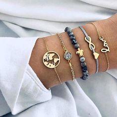 Ready to go bracelet stack! Set consists of: World map bracelet Druzy stone bracelet Stretch stone with turtle bracelet Infinity with heart bracelet Love bracelet Gold tone Tassel Bracelet, Woven Bracelets, Strand Bracelet, Diamond Bracelets, Heart Bracelet, Bracelet Set, Charm Bracelets, Silver Bracelets, Silver Ring