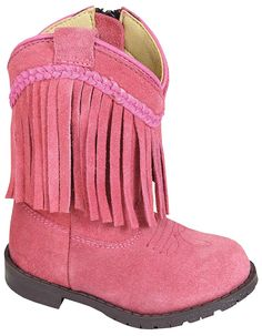 Smoky Mountain Toddler Western Hopalong Pink Fringe Zip Boot , Side Zipper for easy on/off Suede with Suede Fringe Western Heel Comfortable Cushion Insole Toddler Cowboy Boots, Kids Western Boots, Cowgirl Boots, Braided Leather, Suede Leather, Leather Boots, Pink Boots, Baby Boots, Bangs