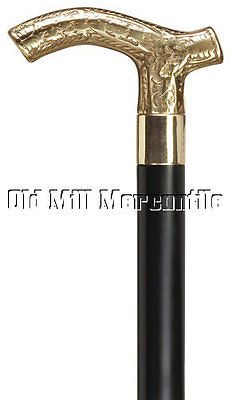 185aaa969d4 Mens Victorian style brass handle walking cane long black shaft rubber tip