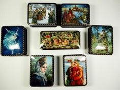 Lot: 7 PC RUSSIAN HAND PAINTED LACQUERED BOXES, ARTIST, Lot Number: 0033, Starting Bid: $190, Auctioneer: Wilton Gallery, Auction: HUGE MULTI ESTATE AUCTION, Date: December 27th, 2016 PST