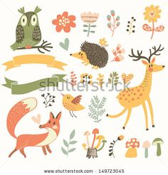 North forest set in vector. Deer, hedgehog, owl, bird and fox in cartoon style. Ribbons with place for your text. by smilewithjul, via Shutt...