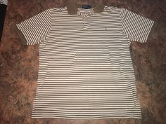 Polo Ralph Lauren Lt, Brown Striped Polo Rugby Shirt Mens 2XLT Tall Pony  #PoloRalphLauren #PoloRugby