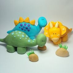Dinosaur Trio Cake Topper Set for Dinosaur Birthday Parties and other events. $15.00, via Etsy.