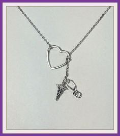 Nurse, Doctor, RN, Athletic Trainer, EMT, EMS, Paramedic  Lariat Necklace, with  Heart, stethoscope and caduceus, handmade jewelry, pendant