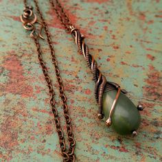 Jade Green Twig Pendant, Door 44 Original, Copper Wire Wrapped Pendant, Copper Stick Pendant, Woven Copper Stick Pendant, Made in Colorado by Door44Jewelry on Etsy