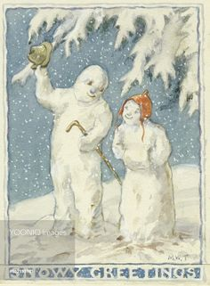 'Snowy Greetings' - Snow man and wife. Christmas card by Margaret Tarrant Vintage Christmas Images, Antique Christmas, Christmas Pictures, Merry Christmas To All, Blue Christmas, Christmas Things, Christmas Illustration, Book Illustration, Old Greeting Cards