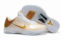 Ken Griffey Shoes Nike Zoom Kobe 5 Big Stage White Gold [Nike Zoom Kobe 5 - The shoe features a clean white and gold color scheme with a translucent rubber outsole. Nike Shoes, Sneakers Nike, Nike Zoom Kobe, Gold Color Scheme, Nike Foamposite, Nike Gold, Gold Shoes, Kobe Bryant, Basketball Shoes