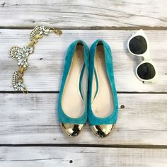 Vince Camuto Ballet Teal Flats Vince Camuto Olita 2. Suede outside. Manmade sole but leather upper and lining. Tips are gold with minor scratches from storage. Leather on inside of both shoes are discolored (see photo). Vince Camuto Shoes Flats & Loafers