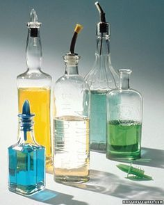 Gentle Reminders: Clean Kitchens - Narrow-necked bottles make graceful decorations and convenient containers for oils and salad dressings, but cleaning them can be a challenge. A good solution: Fill the bottles with water, and drop a tablet or two (depending on bottle sizes) of denture cleaner in each. This loosens the residue that accumulates on the bottom and sides. Let the bottles stand overnight, then hand-wash them using a narrow nylon brush.