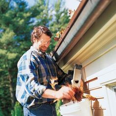 One way or another, debris will find its way into your gutters, and someone—you or a gutter service—will have to climb a ladder and clean them out. Here are some basic tricks of the trade to make the job easier.  Use a standoff. It lets you rest a ladder on the roof, preventing gutter scratches and dents and increasing ladder stability.  Stay on the ladder. Falls are more likely if you work from the roof.  Protect your hands. Wear gloves and use a gutter scoop.  Start at the downspout. Youll…