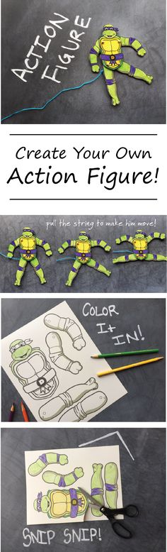 Create your own action figure with shrink with ink film! Color it in, shrink 'em and watch them move!