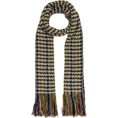 Isabel Marant Alva Daddy Scarf ($500) ❤ liked on Polyvore featuring accessories, scarves, fringe scarves, isabel marant, wool scarves, wool shawl and fringe shawl