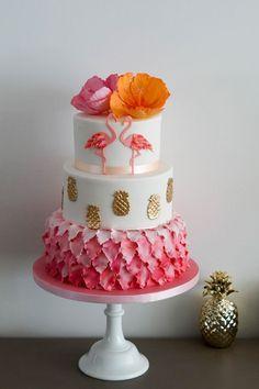 Flamingo It's Your Cake Flamingo Party, Flamingo Cake, Flamingo Birthday, Luau Birthday, Birthday Parties, 13th Birthday Cakes, Pretty Cakes, Cute Cakes, Beautiful Cakes