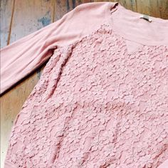 Lace Front Sweatshirt Very cute rosy pink lightweight sweatshirt from fossil.  Only worn twice Fossil Sweaters Crew & Scoop Necks