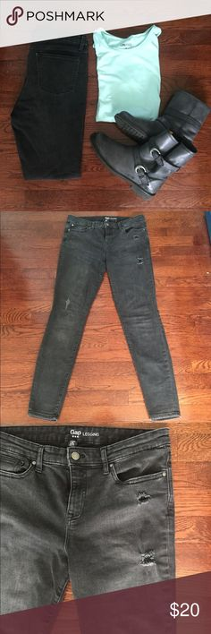 GAP Black Legging Jeans Great pair of faded black GAP Legging Jeans in a size 8/29! Not sure if these jeans are made to look faded or not. Intentional distressing, super soft and stretchy, faded look is awesome with a chambray button down! Nice higher rise is good for keeping things tucked in! 16 inches across waist, 10 inch rise, 29 inch inseam. GAP Jeans Skinny