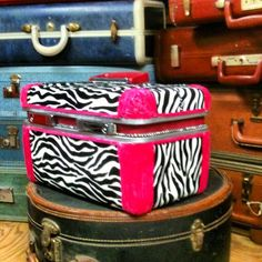 Upcycled Pink Train case with faux zebra print by TheUpcycledWord, $98.00