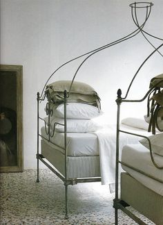Twin French iron beds; Mimmi O'Connell