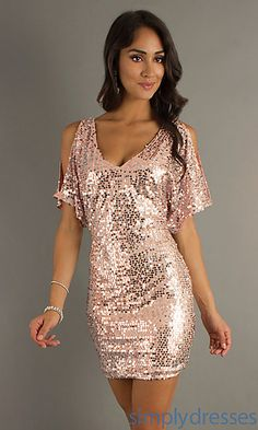 $30 Pink Short Sequin Dress with Sleeves by As U Wish at SimplyDresses.com