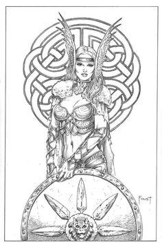 Shield Maiden 1 by MitchFoust on DeviantArt Norse Tattoo, Viking Tattoos, Thai Tattoo, Maori Tattoos, Tribal Tattoos, Viking Symbols, Viking Art, Fantasy Kunst, Fantasy Art