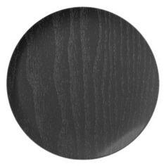 Textura de madera negra personalizada platos de comidas