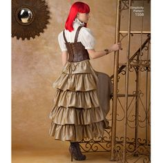 """misses' steampunk costume includes fitted military-style jacket, victorian   blouse, corset-style belt, skirt with or without hardware pickups, and boot covers. simplicity sewing pattern by theresa   laquey.<p></p><img src=""""skins/skin_1/images/icon-printer.gif"""" alt=""""printable pattern"""" /><a   href=""""#"""" onclick=""""toggle_visibility('foo');"""">printable pattern terms of ..."""