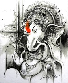 ganesha in charcoal painting by Shekhar Ballari Ganesha Drawing, Lord Ganesha Paintings, Ganesha Tattoo, Ganesha Art, Krishna Painting, Art Sketches, Art Drawings, Indian Contemporary Art, Indian Art Paintings
