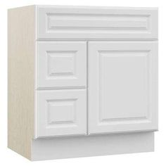 Cambridge 30 in. W x 21.5 in. D x 33.5 in. H Vanity Cabinet Only with Drawers on Left in White
