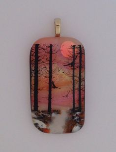 Sunset Pendant Cremation Jewelry with Pet ashes in the walkway Orange Necklace by addicted2glassfusion on Etsy