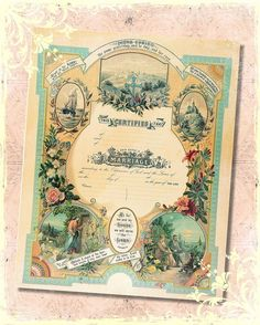 Victorian Christian Floral Marriage Wedding Certificate 8x10 Digital Print , Altered Art, Collage, Scrapbooking, Cardmaking on Etsy, $3.50