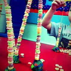 Playdough, sticks and cheerios