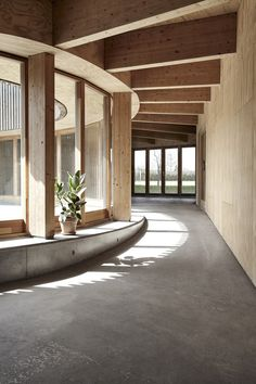 Image 5 of 11 from gallery of Horbelev Kulturgård / WERK. Photograph by Santiago de la Vega Timber Architecture, Architecture Portfolio, Contemporary Architecture, Architecture Details, Kindergarten Interior, Patio Central, Arch Interior, Built Environment, Textured Walls